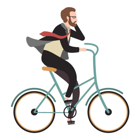 Cyclist flat. Happy man ride bicycle and call phone for business. Outdoor activity cartoon person vector illustration