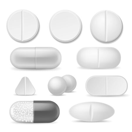 Realistic pills. White medicine tablets. Antibiotic aspirin painkiller drugs, therapy pharmacy healthcare addiction vector capsule icon set