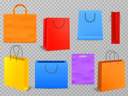 Color shopping bags. Empty products handbag white paper fashion bag with handle 3d isolated grocery shop realistic package vector mockup set Ilustracja