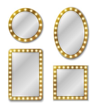 Miroir de maquillage. Miroir de surface de réflexion miroirs vierges réalistes verre cercle décor cadre décoration intérieure pour salon ou maison ensemble de vecteurs vintage Vecteurs