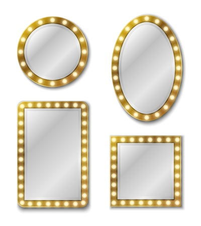 Makeup mirror. Mirroring reflection surface realistic blank mirrors glass circle decor frame interior decoration for salon or home vintage vector set Illustration