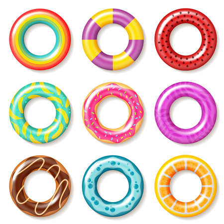 Swim rings. Swimming inflatable ring colorful buoy pool kids float inflatables toys beach children lifesaver summer realistic vector collection