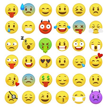 Conjunto de emoticonos. Emoji caras emoticon sonrisa divertida digital smiley expresión emoción sentimientos chat messenger dibujos animados emotes iconos de vector de caracteres Ilustración de vector
