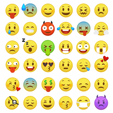 Emoticon impostate. Emoji facce emoticon sorriso divertente smiley digitale espressione emozione sentimenti chat messenger cartone animato emote carattere icone vettoriali Vettoriali