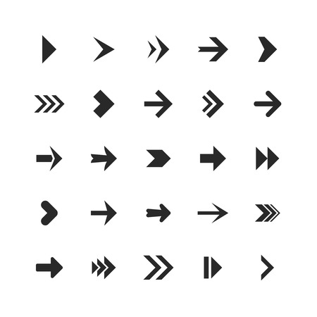 Arrows set. Arrow icons down direction up pointer sign next right left cursor black web interface navigation or website cursor flat collection
