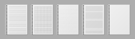 Realistic line notobooks. Blank open padded sketchbook with dots and lines for writing message vector templates Illustration