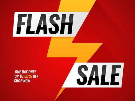 Flash sale. Flashes blitz mega new deals buy shop sales offer poster hot price promo trendy sticker lightning bolt arrow vector banner with thunder