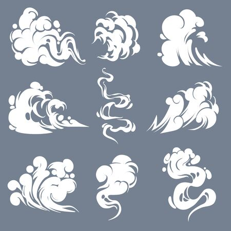 Cartoon smoke. Smoking steam clouds smells bad expired fire gas flash vapour aroma puff mist fog effects game comic shot drawing