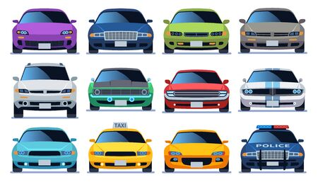 Car front view set. Urban city traffic vehicle model cars. Police and taxy color fast auto traffic driving flat sedan collection Illustration