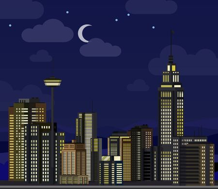 Night cityscape. Flat skyscraper modern buildings city office center, apartment house hotel residential block exterior panorama urban vector illustration Иллюстрация
