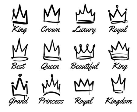 Vector crown logo. Hand drawn graffiti sketch and signs collections for king and queen. Black brush line isolated on white background