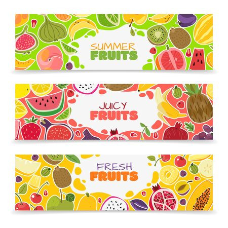 Fruits banners. Colorful fruit design summer healthy fresh organic vegan cut food collection harvest cartoon background composition, vector illustration