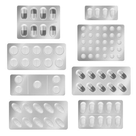 Realistic blister packs pills. Medical tablet capsules painkiller drugs vitamin antibiotic aspirin. Medicine packing mockup