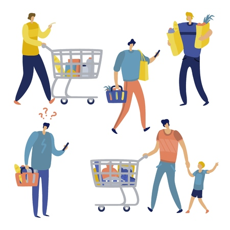 Shopping list. Man in supermarket shop for family. Cart consume lifestyle retail purchase store shopaholic mall shopper Ilustracja