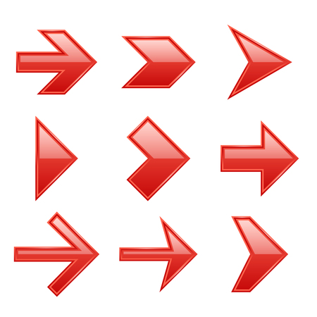 Arrows set. Arrow icons down direction up pointer sign next right left cursor black web interface navigation flat, vector red pictogram collection