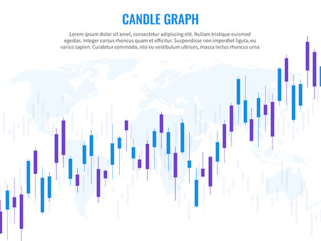 Candle graph. Stock market exchange marketing statistics risk finance trade investment indices growth chart world globe rising trading vector concept