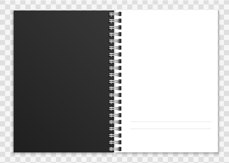 Realistic open notebook. Notepad or copybook with ring spiral bound pages and cover vector image