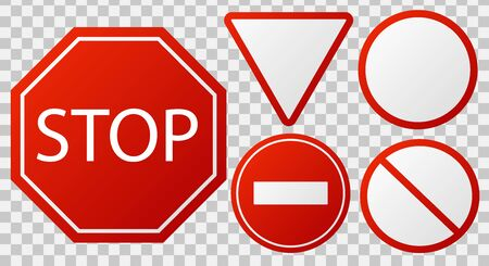 Traffic stop signs. Red police restricted road sign to enter stop danger isolated vector icon collection Фото со стока - 133637689