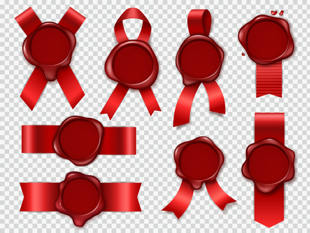 Seal candle stamp. Red ribbons with original waxing rubber vintage document envelope seals royal mail stamps isolated vector set Stok Fotoğraf - 123547346