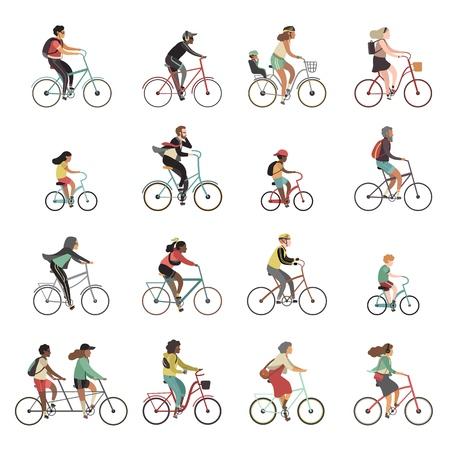 Cyclists set. Happy people riding bicycle family ride tandem bikes children woman men sports gear outdoor activity cartoon vector set Vektorové ilustrace