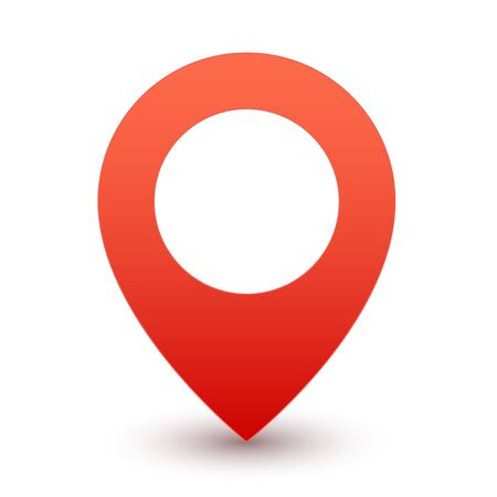 Gps red pin. Map marker or travel symbol vector icon on white background with shadow Иллюстрация