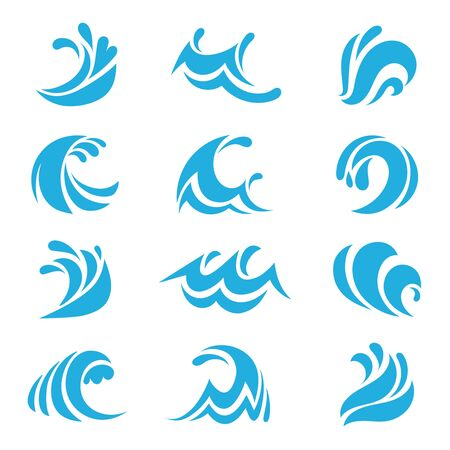 Sea wave set. Ocean blue storm tide waves wavy river water design line elements vector isolated collection