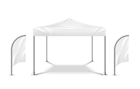 White tent with flags. Promo marquee mockup beach event outdoor material pavilion mobile camping party tent vector template Illustration