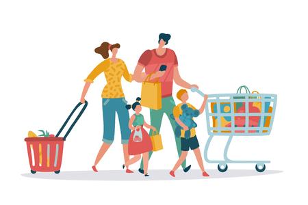 Familia de compras. Mamá, papá, niños, tienda, carro, cesta, consumir, minorista, compra, tienda, supermercado, centro comercial, supermercado, caricatura, vector, compradores