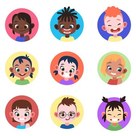 Children avatar. Faces childhood cute kids boys girls avatars head child profile portrait character web user, flat vector set  イラスト・ベクター素材