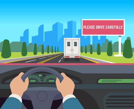 Hands driving car. Auto inside dashboard driver speed road overtaking street traffic travel billboard, flat vector illustration Illustration