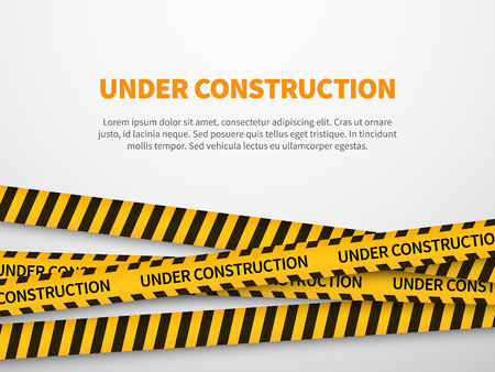 Under construction page. Caution yellow tape construct warning line background sign web page security caution