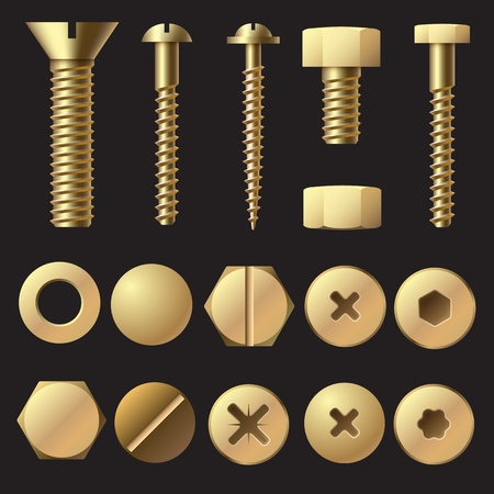 Golden bolts and screws. Washer nut hardware rivet screw and bolt. Gold fasteners isolated illustration set 写真素材 - 133636888