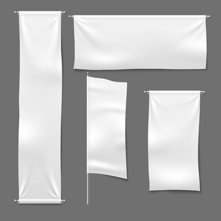 Flag and hanging banners. White advertising blank textile banner fabric horizontal cloth sign, textile ribbons vector template set Ilustração