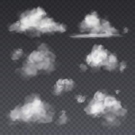Realistic cloud. White clouds fluffy sky fog frame isolated on transparent background vector illustration set