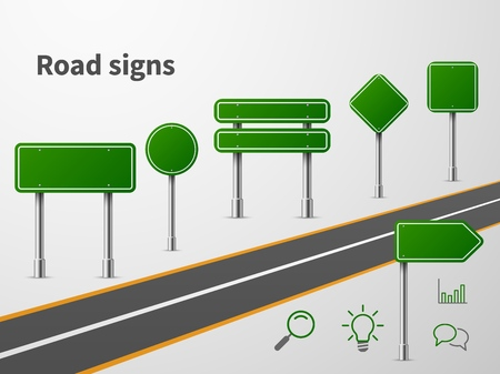 Green road sings. Banner traffic street route, blank direction highway city signpost location concept Иллюстрация