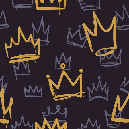 Sketch crown pattern. Seamless print texture girl princess crowns luxury royal ink wallpaper fashion interior doodle background Иллюстрация