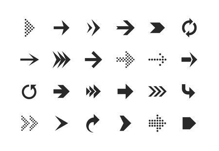 Arrow icons. Arrows set up pointer right curve down direction left cursor button label next page web interface, flat vector navigation symbol Иллюстрация