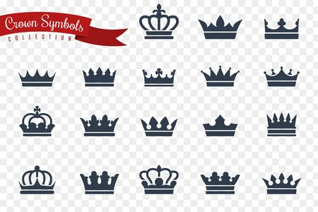 Crown symbols. King queen crowns monarch imperial coronation princess tiara crest luxury royal jewel winner award flat crowns, vector medieval silhouette icons