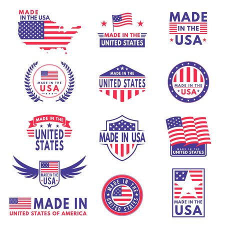 Usa labels. Flag made america american states flags label badge stamp star patriot stripe ribbon emblem sticker banner, vector business icons Иллюстрация