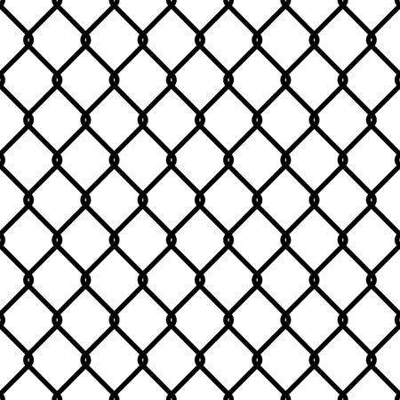 Modèle de lien de clôture. Chaîne en acier sans soudure cage texture noir maille papier peint mur de sécurité périmètre sécurité industrielle grille métallique, vecteur isolé