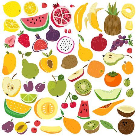Vruchten instellen. Schattig fruit citroen watermeloen banaan kers ananas appel peer aardbei verse kleurrijke grappige kinderen eten zomer cartoon vector