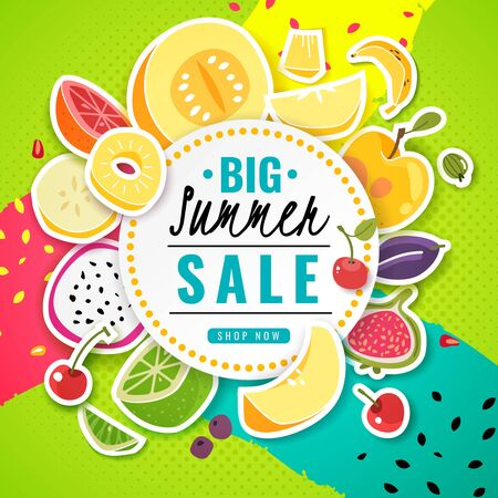 Banner fruit. Poster fresh food juice summer fruits offer sale discount season price flyer card text colorful frame cartoon, vector promotion template Иллюстрация