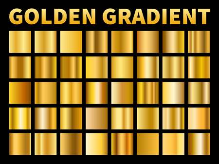 Golden gradients. Gold squares metal gloss gradient swatches, empty reflection metallic yellow plate frame, label texture or award foil ribbon. Vector set Иллюстрация