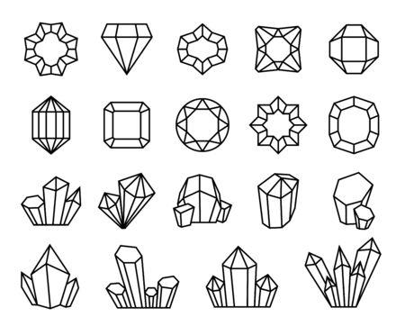 Cristaux de ligne. Pierre gemme minérale bijou pierre précieuse contour diamants forme cristal géométrique de luxe cristalliser vecteur de quartz stalagmite