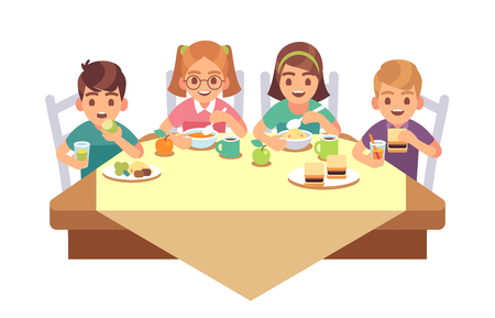 Kids eat together. Children eating dinner cafe restaurant happy child breakfast lunch fast food dining friends cartoon healthy meal vector concept