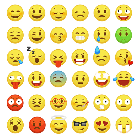 Emoji set. Emoticon face smiley character facial yellow sign message people man emotion feelings chat happy and sad emojis cartoon vector icons Vetores
