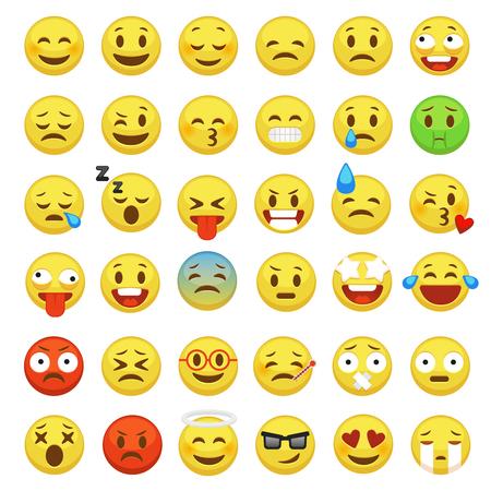 Insieme di emoji. Emoticon faccia faccina personaggio facciale segno giallo messaggio persone uomo emozione sentimenti chat emoji felici e tristi icone vettoriali dei cartoni animati Vettoriali