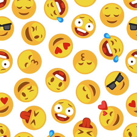 Emoji pattern. Emotions faces emoticon smile funny cute smiley expression emotion chat messenger kid cartoon vector seamless wallpaper