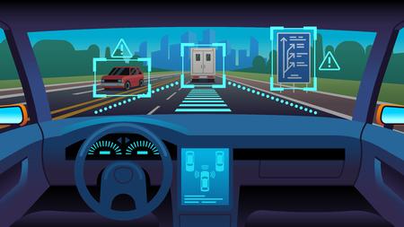 Toekomstige autonoom voertuig. Driverless auto-interieur futuristische autonome stuurautomaat sensor systeem gps weg, cartoon vector onbemand vervoer concept Vector Illustratie