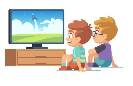 Kids watch tv. Children movie home little boy girl watches tv set displaying picture screen character electric monitor cartoon vector concept